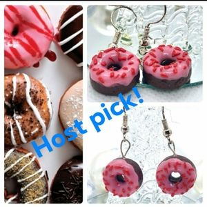 Chocolate Donut & Pink Sprinkle earrings